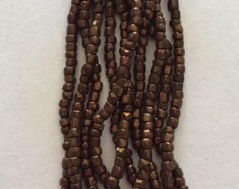 Vintage Czech Cut Glass Beads - Red Bronze - Partial Hank