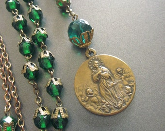 Rosary Y Lariat Necklace Green Glass Beaded Vintage Religious Jewelry Handmade One of a Kind