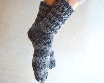Striped gray socks hand knit tweed socks gift for her womens gift warm socks Christmas gift