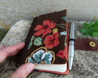 Brown and salmon moleskine cover with flowers. Refillable journal cover made of cotton floral fabric and recycled leather flap