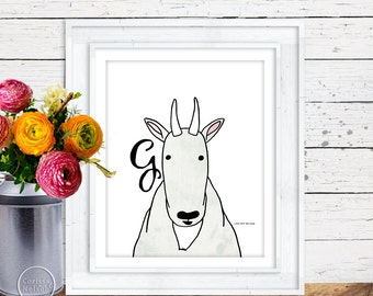 Mountain Goat Illustration Children's Alphabet Printable - Instant Download 8x10