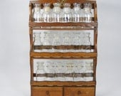 Wooden Spice Rack and 18 Glass Spice Jars