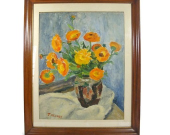 Orange Flowers in Vase Original Oil Painting with Wooden Frame
