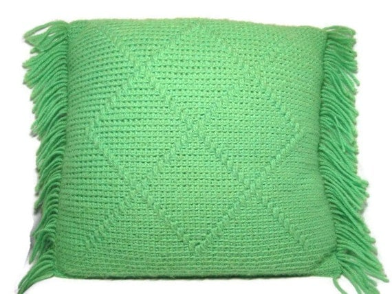 Throw Pillow Lime Green knit in acrylic yarn with great fringe