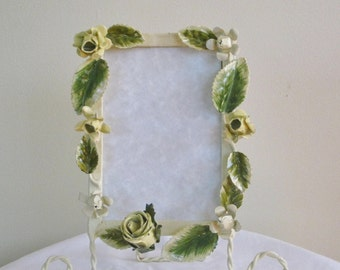 Vintage Tole Picture Frame, Mid Century Photo Frame with Roses and Leaves with Scroll Easel, French Cottage Chic