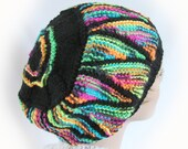 Woman's Colorful Knit Hat Black and Multicolor Striped Knit Winter Hat Stained Glass Women's Hat Girl's Colorful Winter Hat Winter Accessory