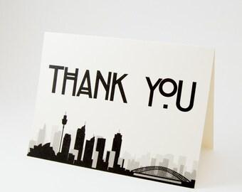 Sydney Australia Thank You Card Sized A6 Wedding Event Skyline City Folded Customization Available