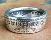 Silver Australian Coin Ring - 1943 Australia Florin Coin Ring - Size: 8