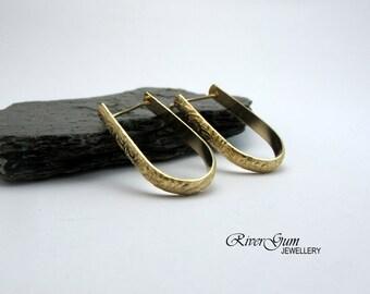 Gold Hoop Earrings, Oval Hoops, Gold Filled Hoops, Gold Earring Hoops - Botanical Series