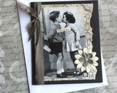 Vintage Style Handmade Valentine's Card featuring Young kissing Couple