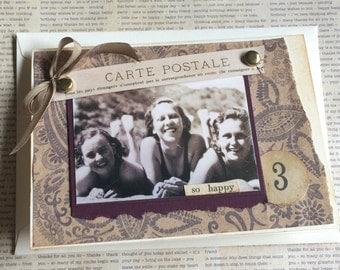 Vintage Photo Girls on Beach Handmade Greeting Card