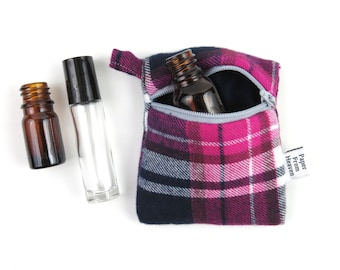 Plaid Mini Essential Oil Zippered Pouch - Pink Navy - roller bottle case travel case essential oil storage IEM case, earbud holder