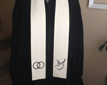 Wedding Officiant Clergy Stole in Black & White