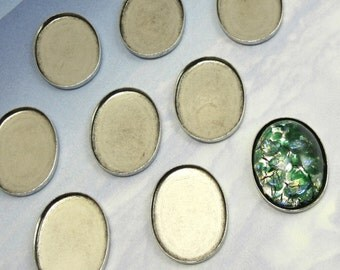 Oval Settings 20x15 mm Settings 12 pcs Antique Silver Cabochon Brass Stamping M-39