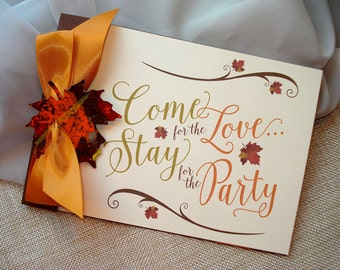 Come For The Love Autumn Booklet Wedding Invitation... SAMPLE
