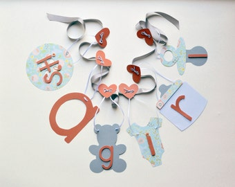 It's a girl baby shower banner coral orange grey and blue decorations by ParkersPrints on Etsy