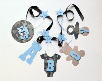 Camo baby shower decorations blue It's a boy banner by ParkersPrints on Etsy