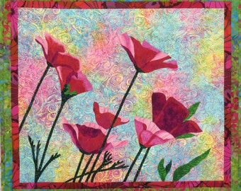 Pink Poppies Original Fiber Art by Lenore Crawford