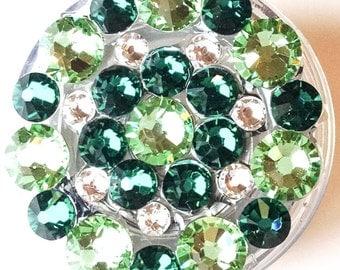 Kelly Green Lime Sage Green ALL Swarovski Crystal Embellished Retractable Spring Clip ID Badge Reel
