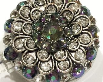 Iridescent Vintage Style Flower Swarovski Crystal Embellished Retractable ID Name Tag Badge Reel