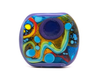 Modern Art // 1 free shaped lampwork bead // Modern Glass Art // Multicolored