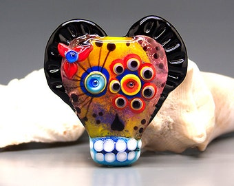 Michou Pascale Anderson -Sugar Skull / Day of Dad lampwork focal bead / including my signature