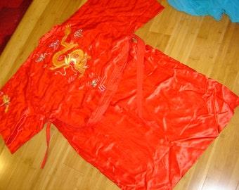 Red Silk robe embroidered Golden Dragon Chinese  men's sz XXL  Halloween costume