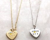 "Heart Charm with the words ""F-CK OFF"". Gold FOff Necklace . Mature Heart Charm. F-Word Heart Necklace . Silver F Off Necklace"