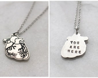 Human Heart Necklace With Engraving YOU ARE HERE Anatomical Medical School  Graduation Love Silver goth