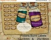 30% OFF SALE LABELS Potions Burnt Mini Labels -  12x18mm & 25x16mm - Harry Potter Potions Labels -  digital bottle labels - collage bottle l