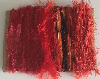 ice yarns SAMPLES fiber art bundle cards red crystal eyelash polar condor metallic lurex blend crochet knitting scrap supplies