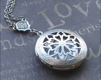 Silver Aromatherapy Locket Necklace, Locket Jewelry, Photo Picture Locket, Engraved Locket, Birthday, Scent Locket, Anniversary, Wife Gift