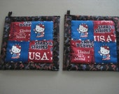 Hello Kitty Memorial Day Kitchen Potholder Set