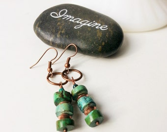 Taos Line Bohemian Earrings Genuine Turquoise and Copper Danglers