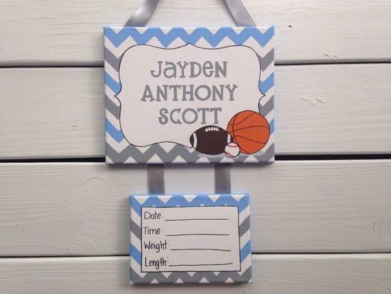 Sports nursery baby boy hospital door sign door decoration for Baby boy hospital door decoration
