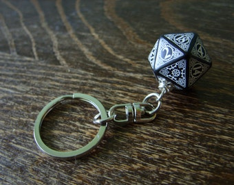 steampunk key chain D20 dice keychain dungeons and dragons dice accessories steam punk rpg geek geekery key chain