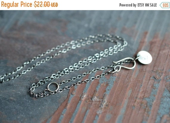 SALE Antique Finish Sterling Silver Cable Chain  Adjustable from 18 inches to 20 inches