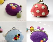Felted bag pattern, felted purse pattern, wool coin purse pattern, pouch pattern, instant download, by napkitten