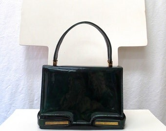 1950s / 60s Vintage Patent Handbag / Green Top Handle Bag with Goldtone Hardware
