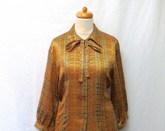 1990s Vintage Tie-Neck Silk Blouse / Orange & Blue Plaid Silk Shirt