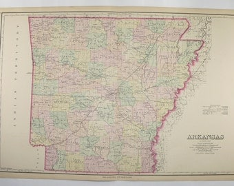 1876 Large Arkansas Map, Southern State Map, Antique AR Map, Wedding Gift for Couple, Arkansas Office Gift for Coworker, O.W. Gray Map