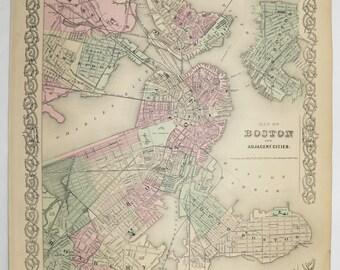 1881 Colton Boston Map, City Street Map, Original Vintage Map Boston MA, Unique Boston Gift for Couple, Housewarming Gift Antique Boston Map