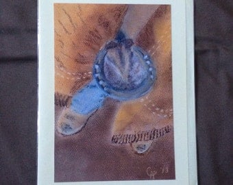 Hoof and Boots, Horse and Farrier, Blank Greeting Card, Farrier art, Horse art, Pastel painting, Pastel drawing
