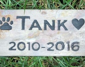 Personalized Pet Memorial Grave Stone Marker with Paw Print & Heart Approx.  3 x 6 Pet Stone Memorial Grave Marker Garden Memorial Stone