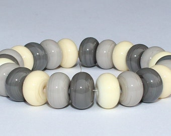 "Handmade Lampwork Beads, 24 Pieces ""Ivory, Gray and Dark Gray"", Size about 9.1 to 9.6 mm"
