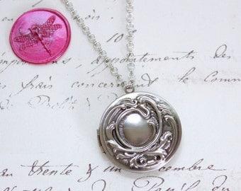 Large Round Ornate Silver Vintage Style Keepsake 2 Photo Locket on Standard or Y Style Necklace