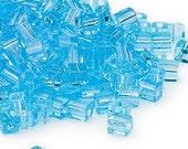 4mm Miyuki # SB148,  transparent light blue square beads, 20 grams