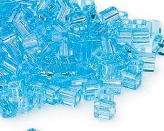 4mm Miyuki # SB148,  transparent light blue square beads, 20 grams