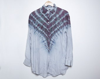 Upcycled Vintage Silk Blouse - Shibori - DKNY - Small - S -
