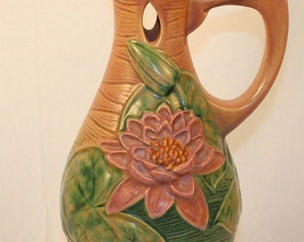 Roseville Pottery Water Lily Pink Ewer 12-15